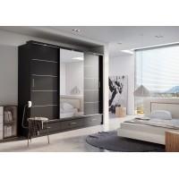 Šatní skříň 01 ARTI 250 černá zrcadlo