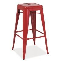 Barová kovová židle LONG červená