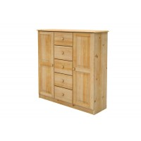 Bielizník masívny z borovice 2 dvierka + 5 zásuviek 120x125x40cm