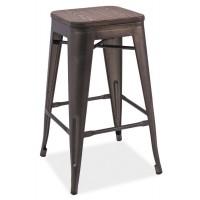 Barová kovová židle LONG grafit/tm.ořech