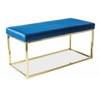 Čalouněná lavice FENDI granátově modrá/zlatá