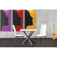 Jedálenský stôl POLO s chrómovými nohami 80x80cm