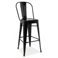 Barová kovová židle LOFT H-1 černá